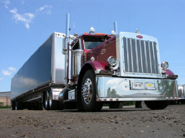Peterbilt with curtain side trailer, covered trailer, curtain sider, flatbed, rack and tarp replacement