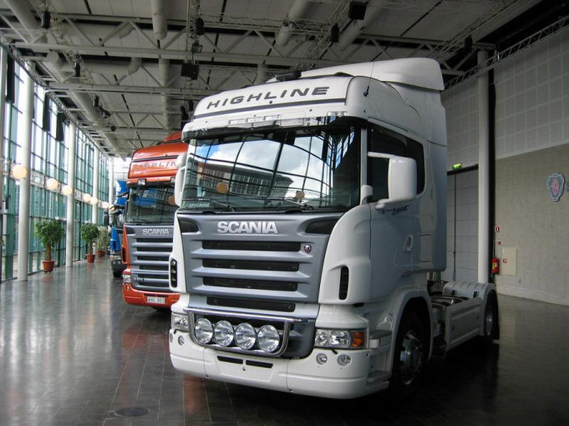 New Scania Trucks in dealer showroom
